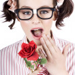 Shocked Romantic Nerdy Girl Holding Red Rose — Stock Photo