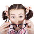 Visual Impaired WomTrying To Read With Glasses — Stockfoto #20466215