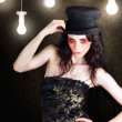 Gorgeous Female Fashion Model Wearing Top Hat - Stockfoto