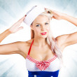 Lovely American Pinup Woman In Military Fashion — Stock Photo