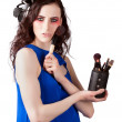 Isolated Makeup Artist Holding Blush Powder Brush — Stock Photo