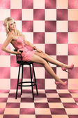 American Culture Pin Up Girl Inside 60s Retro Diner — Stock Photo
