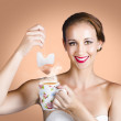 Happy Beautiful Pin Up Girl Drinking Tea Or Coffee - Stockfoto