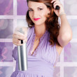Happy Young Housewife Cleaning With Spray Bottle - Foto Stock
