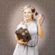 Smiling Vintage Woman Hearing Good News On Phone - Foto Stock