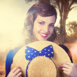 Vintage portrait of a country pinup girl - Stock fotografie