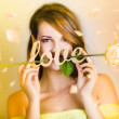 Young beautiful woman expressing feelings of love — Stock Photo