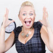 Excited business woman screaming out in success — Stock Photo