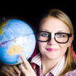 Stock Photo: Geography school student learning about world