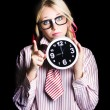 Stock Photo: Time management business person signalling time up