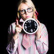 Time management business person signalling time up - Stock Photo
