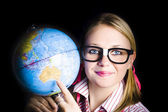 Geography school student learning about world — Stock Photo