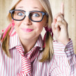 Nerd Female Salesman Pointing To Product Copyspace — Stock Photo