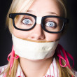 Face Of Nerdy Geek Gobsmacked By Silence - Stock Photo