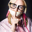 Female Business Nerd With Quiet Gesture — Stock Photo