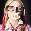 Stockfoto: Romantic Nerd Flower Girl With Expression Of Love