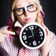 Punctual Woman Late For Time Schedule Deadline — Stock Photo