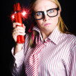 Explosive Nerd Erupts with Fury - Stock Photo