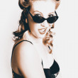 Retro Sepia Portrait Of A Surprised 60s Pinup Girl — Stock Photo