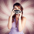 Pin-up Photographer Girl Taking Surprise Photo — Stock Photo