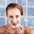 Beauty Woman In Bathroom With Skincare Products - Stock Photo