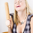 Sad Woman Baking With Broken Kitchen Utensil - Lizenzfreies Foto