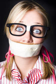 Face Of Nerdy Geek Gobsmacked By Silence — Stock Photo