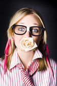 Romantic Nerd Flower Girl With Expression Of Love — Stok fotoğraf