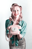 Contact Us By Telephone Said A Vintage Pinup Woman — Stock Photo
