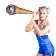 Female sailor with telescope — Stock Photo