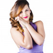 Stock Photo: Beautiful womin purple dress