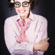 Funny Female Business Nerd With Big Geeky Smile — Stok fotoğraf