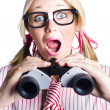 Surprised Nerd Looking To Future With Binoculars - Stock Photo