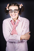 Funny Female Business Nerd With Big Geeky Smile — Stock Photo