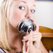 Young Blonde Woman Ringing The Bell Of Lip Service — Stock Photo