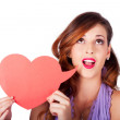 Stockfoto: Isolated Girl Talking Through Heart Speech Bubble