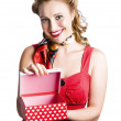 Woman holding gift box - Stock Photo