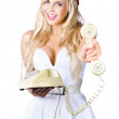 Stock Photo: Smiling Womwith Retro Telephone