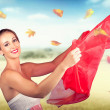 Стоковое фото: Attractive Girl On Outdoor Autumn Picnic Break