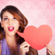 Beautiful Brunette Woman Shouting Out Love Message — Stock Photo