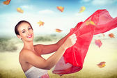 Attractive Girl On Outdoor Autumn Picnic Break — Stok fotoğraf
