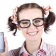 Technology savy business woman with mobile phone - Stock Photo