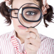 Stock Photo: Watchful Business WomPerforming System Audit