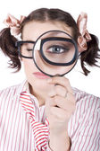 Watchful Business Woman Performing System Audit — Stockfoto