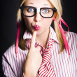 Quiet female dork keeping secret with lips sealed — Stock fotografie