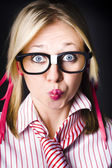 Surprised business woman with thinking expression — Stock Photo