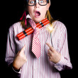 Fired business woman in dynamite fright — Stock Photo