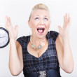 Excited business woman meeting time schedule - Stock Photo