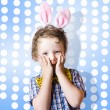 Adorable little kid wearing easter bunny ears — Stock Photo