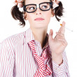 Nerd girl smoking — Stock Photo